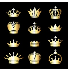 Set of gold crowns vector