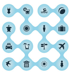 set of simple beach icons vector image