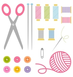 Sewing and knitting tools vector