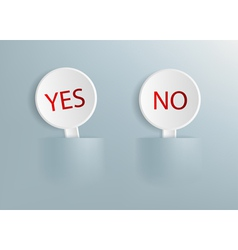 Signs with the words yes and no vector
