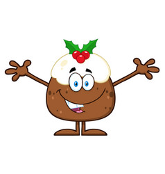 smiling christmas pudding cartoon character vector image