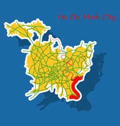 Sticker ho chi minh city administrative map vector