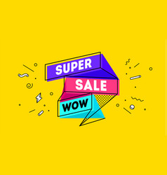 Super sale 3d sale banner with text super sale vector