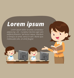 Teacher presenting for computer learning vector