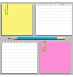 Templates of four stickers and pencil vector image