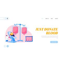 transfusion blood donation laboratory landing page vector image