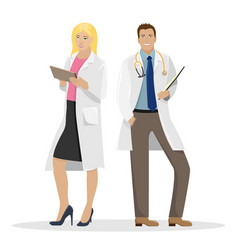 two doctors in white coats medical vector image