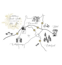 wedding card with map vector image