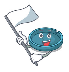 with flag ashtray mascot cartoon style vector image