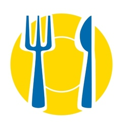 Yellow plate with blue fork and knife vector