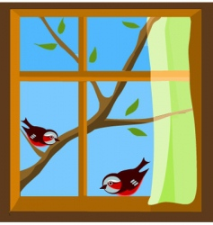 birds on window vector image