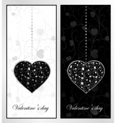 black and white valentines day vector image vector image