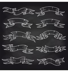 Chalk vintage ribbons set on blackboard vector image vector image