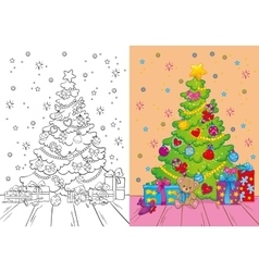 Coloring book of christmas tree and gifts vector