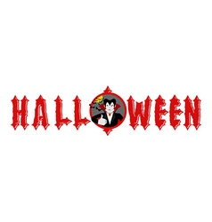 Halloween emblem Dracula winks and shows thumb up vector image vector image