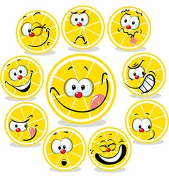 lemon icon cartoon with funny faces isolated on vector image