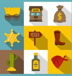 retro wild west icons set flat style vector image
