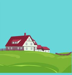 Rural landscape with villa vector