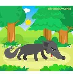 The three little pigs hungry wolf vector