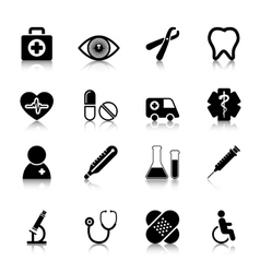 Medical Icons Set with reflection vector image