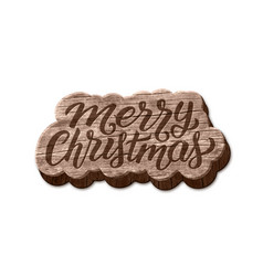 merry christmas wood badge element vector image