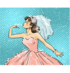 pop art of bride looking at vector image