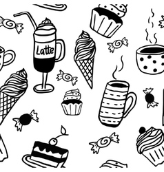 Sweet seamless pattern with drinks and sweets vector image