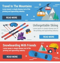 Three banners skiing and snowboarding vector image vector image