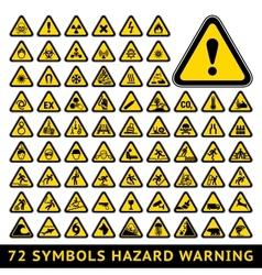 Triangular warning hazard symbols big yellow set vector