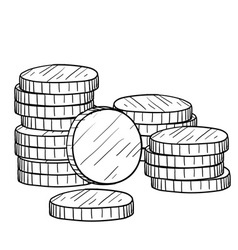 doodle money coins stack vector image vector image