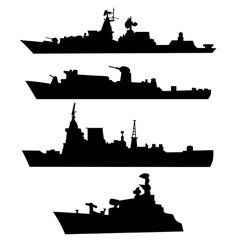 Four silhouettes of a military ship vector image vector image