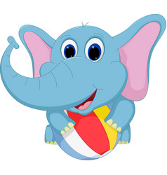 happy elephant cartoon playing ball vector image vector image