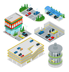 isometric car parking set city transportation vector image vector image