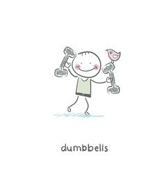 Man lifts dumbbells vector
