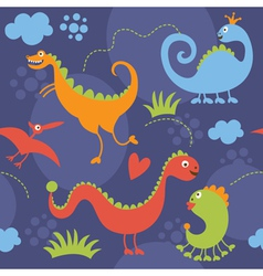 seamless pattern with cute dinosaur vector image vector image