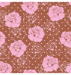Seamless pink rose pattern on brown background vector image vector image