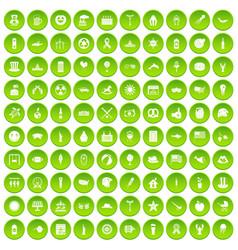 100 summer holidays icons set green circle vector image vector image