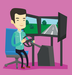 man playing video game with gaming wheel vector image