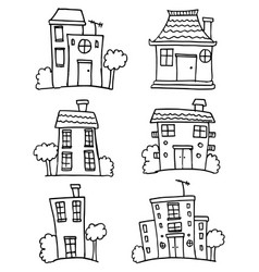 set of building hand draw vector image