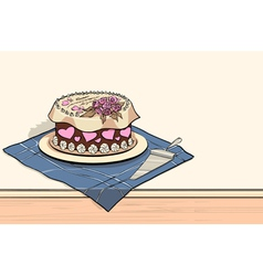 Tort on the table with spatula vector image