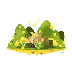 Treasure a bag of gold coins vector image