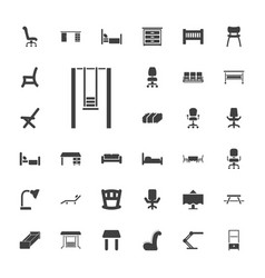 33 furniture icons vector
