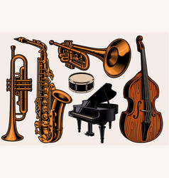 a set colorful different musical instruments vector image