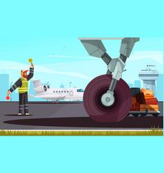 Airport cartoon composition vector