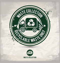 alternative waste collection stamp vector image