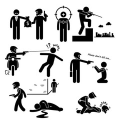 Assassination hitman killer murder gunman stick vector
