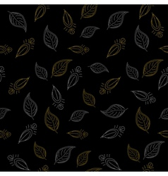 background leaves on black vector image