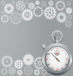 Background with gears and stopwatch vector