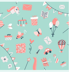 bagoods seamless pattern with toys gifts vector image