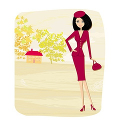 Beautiful fashion autumn girl on rural landscape vector